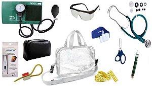 Kit Enfermagem Aparelho De Pressão com Estetoscópio Rappaport Premium Completo - Verde + Bolsa Transparente JRMED