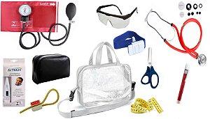 Kit Enfermagem Aparelho De Pressão com Estetoscópio Rappaport Premium Completo - Vermelho + Bolsa Transparente JRMED