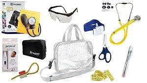 Kit Enfermagem Aparelho De Pressão com Estetoscópio Rappaport Incoterm Completo - Amarelo + Bolsa Transparente JRMED
