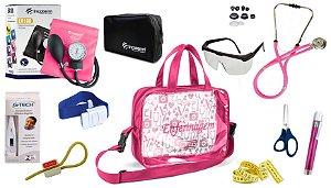 Kit Enfermagem Aparelho De Pressão com Estetoscópio Rappaport Incoterm Completo - Pink + Bolsa Transparente JRMED