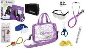 Kit Enfermagem Aparelho De Pressão com Estetoscópio Rappaport Incoterm Completo - Lilás + Bolsa Transparente JRMED