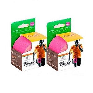 2 Fitas Kinesio Tmax Original Bandagem Elástica 5 Mts Rosa