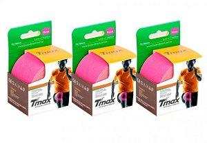 3 Fitas Kinesio Tmax Original Bandagem Elástica 5 Mts Rosa
