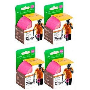 4 Fitas Kinesio Tmax Original Bandagem Elástica 5 Mts Rosa