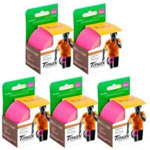 5 Fitas Kinesio Tmax Original Bandagem Elástica 5 Mts Rosa