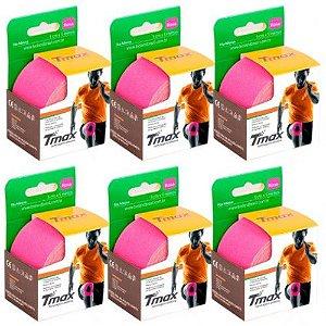 6 Fitas Kinesio Tmax Original Bandagem Elástica 5 Mts Rosa