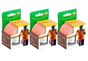 3 Fitas Kinesio Tmax Original Bandagem Elástica 5 Mts Bege