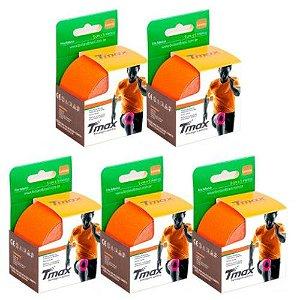 5 Fitas Kinesio Tmax Original Bandagem Elástica 5 Mts Laranja