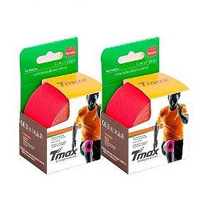 2 Fitas Kinesio Tmax Original Bandagem Elástica 5 Mts Vermelha