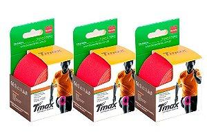 3 Fitas Kinesio Tmax Original Bandagem Elástica 5 Mts Vermelha