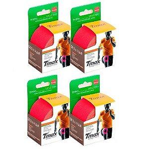 4 Fitas Kinesio Tmax Original Bandagem Elástica 5 Mts Vermelha