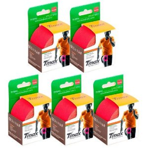 5 Fitas Kinesio Tmax Original Bandagem Elástica 5 Mts Vermelha