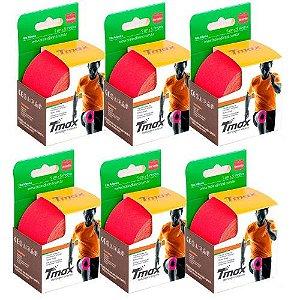 6 Fitas Kinesio Tmax Original Bandagem Elástica 5 Mts Vermelha