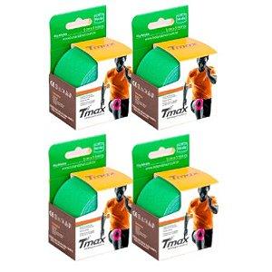 4 Fitas Kinesio Tmax Original Bandagem Elástica 5 Mts Verde