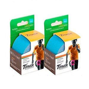 2 Fitas Kinesio Tmax Original Bandagem Elástica 5 Mts Azul