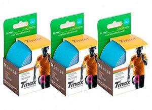 3 Fitas Kinesio Tmax Original Bandagem Elástica 5 Mts Azul
