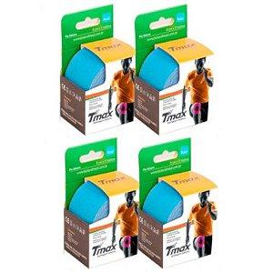 4 Fitas Kinesio Tmax Original Bandagem Elástica 5 Mts Azul