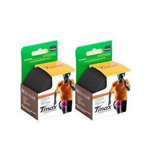 2 Fitas Kinesio Tmax Original Bandagem Elástica 5 Mts Preta