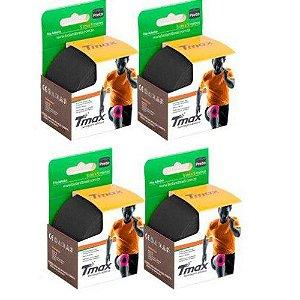 4 Fitas Kinesio Tmax Original Bandagem Elástica 5 Mts Preta