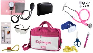 Kit Enfermagem Aparelho De Pressão com Estetoscópio Rappaport Premium Completo - Rosa + Bolsa JRMED