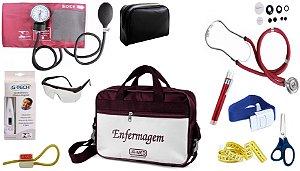 Kit Enfermagem Aparelho De Pressão com Estetoscópio Rappaport Premium Completo - Vinho + Bolsa JRMED