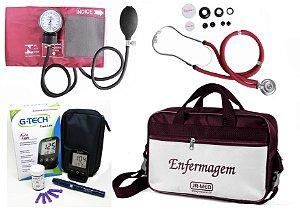 Kit Enfermagem Aparelho Pressão com Estetoscópio Rappaport Premium - Vinho + Bolsa JRMED + Medidor de Glicose - G-Tech