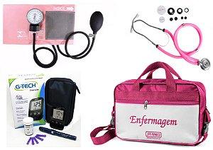 Kit Enfermagem Aparelho Pressão com Estetoscópio Rappaport Premium - Rosa + Bolsa JRMED + Medidor de Glicose - G-Tech