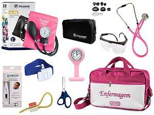 Kit Enfermagem Aparelho De Pressão com Estetoscópio Rappaport Incoterm Completo - Pink + Bolsa  JRMED + Relógio Lapela