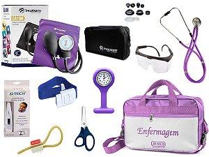 Kit Enfermagem Aparelho De Pressão com Estetoscópio Rappaport Incoterm Completo - Lilás + Bolsa  JRMED + Relógio Lapela