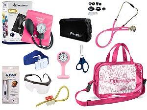 Kit Enfermagem Aparelho De Pressão com Estetoscópio Rappaport Incoterm Completo - Pink + Bolsa Transparente JRMED + Relógio Lapela