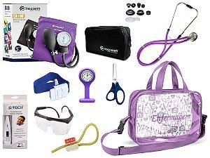 Kit Enfermagem Aparelho De Pressão com Estetoscópio Rappaport Incoterm Completo - Lilás + Bolsa Transparente JRMED + Relógio Lapela