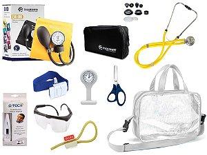 Kit Enfermagem Aparelho De Pressão com Estetoscópio Rappaport Incoterm Completo - Amarelo + Bolsa Transparente JRMED + Relógio Lapela
