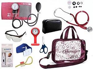 Kit Enfermagem Aparelho De Pressão com Estetoscópio Rappaport Premium Completo - Vinho + Bolsa Transparente JRMED + Relógio Lapela