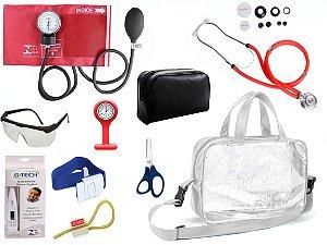Kit Enfermagem Aparelho De Pressão com Estetoscópio Rappaport Premium Completo - Vermelho + Bolsa Transparente JRMED + Relógio Lapela