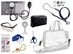 Kit Enfermagem Aparelho De Pressão com Estetoscópio Rappaport Premium Completo - Grafite + Bolsa Transparente JRMED + Relógio Lapela
