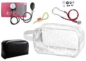 Kit Enfermagem Aparelho de Pressão com Estetoscópio Rappaport Premium + Necessaire Transparente