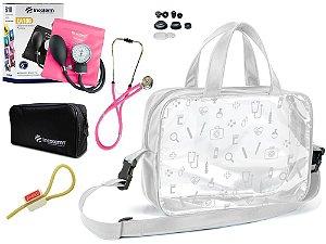 Kit Enfermagem Aparelho Pressão com Estetoscópio Rappaport  Incoterm + Bolsa Transparente + Garrote Exclusivo JRMED