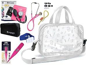 Kit Enfermagem Aparelho de Pressão com Estetoscópio Rappaport Incoterm + Termômetro + Garrote + Bolsa Transparente