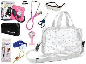 Kit Enfermagem Aparelho De Pressão com Estetoscópio Rappaport Incoterm Completo + Bolsa Transparente + Relógio Lapela