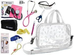Kit Enfermagem Aparelho De Pressão com Estetoscópio Rappaport Incoterm Completo + Bolsa Transparente