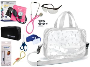 Kit Enfermagem Aparelho De Pressão com Estetoscópio Rappaport Incoterm Completo + Bolsa Transparente JRMED