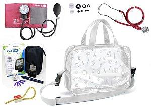 Kit Enfermagem Aparelho Pressão com  Estetoscópio Rappaport Premium + Bolsa Transparente + Medidor de Glicose - G-Tech