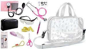 Kit Enfermagem Aparelho De Pressão com Estetoscópio Rappaport Duplo Premium Completo  + Bolsa Transparente