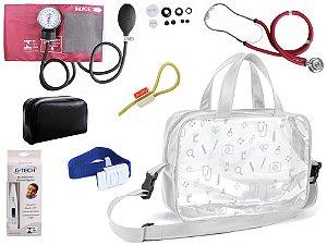 Kit Enfermagem Aparelho de Pressão com Estetoscópio Rappaport Premium + Termômetro + Garrote + Bolsa Transparente