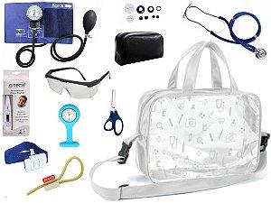 Kit Enfermagem Aparelho De Pressão com Estetoscópio Rappaport Premium Completo + Bolsa Transparente + Relógio Lapela