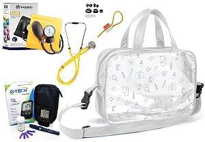 Kit Enfermagem Aparelho Pressão com  Estetoscópio Rappaport Incoterm + Bolsa Transparente + Medidor de Glicose - G-Tech