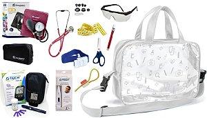 Kit Enfermagem Aparelho Pressão com Estetoscópio Rappaport Incoterm Completo + Bolsa Transparente + Medidor de Glicose - G-Tech