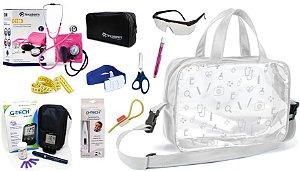 Kit Enfermagem Esfigmomanômetro com Estetoscópio Clinico Duplo Incoterm Completo + Bolsa Transparente + Medidor de Glicose - G-Tech