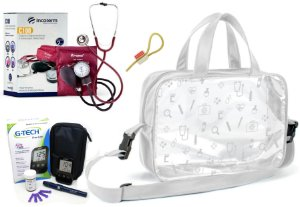 Kit Enfermagem Esfigmomanômetro com Estetoscópio Clinico Duplo Incoterm + Bolsa Transparente + Medidor de Glicose - G-Tech
