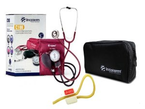 Kit Enfermagem: Aparelho de Pressão com Estetoscópio Clinico Duplo Incoterm + Garrote JRMED